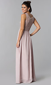 Image of embroidered-lace-bodice long chiffon prom dress. Style: SOI-M17879 Back Image