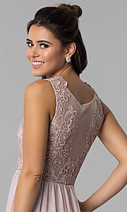 Image of embroidered-lace-bodice long chiffon prom dress. Style: SOI-M17879 Detail Image 2