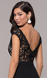 Image of long navy v-neck prom dress with openwork lace. Style: SOI-M17792 Detail Image 2