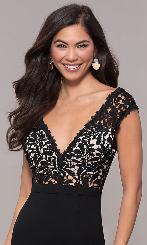 Image of long navy v-neck prom dress with openwork lace. Style: SOI-M17792 Detail Image 1