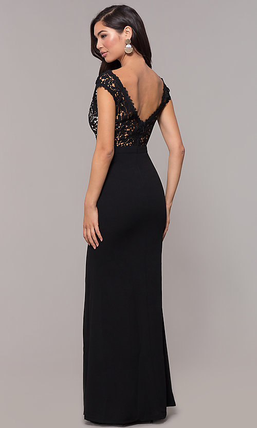 Image of long navy v-neck prom dress with openwork lace. Style: SOI-M17792 Back Image