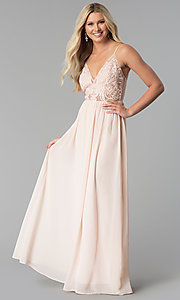 Image of v-neck long prom dress with embroidered-mesh bodice. Style: SOI-M17562 Front Image