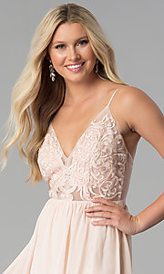 Image of v-neck long prom dress with embroidered-mesh bodice. Style: SOI-M17562 Detail Image 1