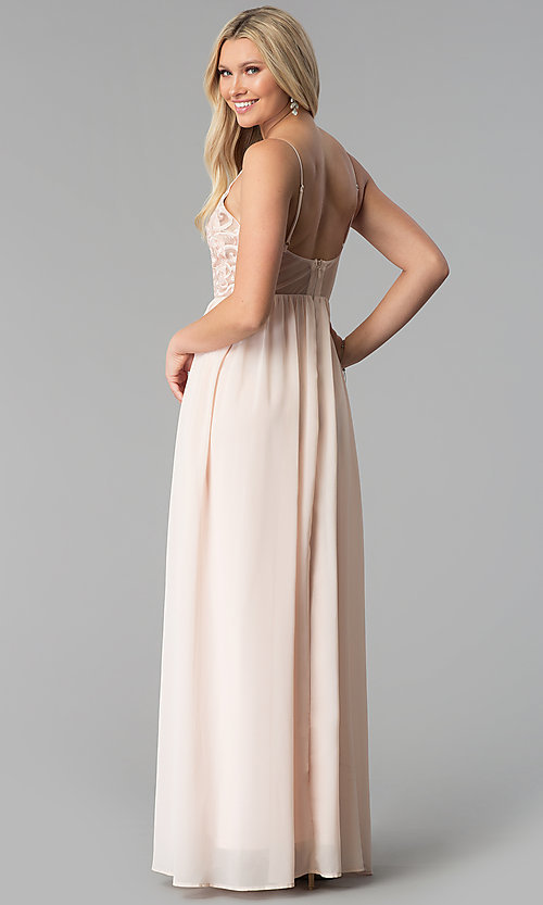 Image of v-neck long prom dress with embroidered-mesh bodice. Style: SOI-M17562 Back Image