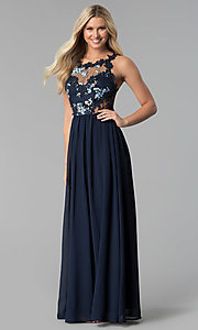Image of embroidered-bodice long chiffon prom dress. Style: SOI-M17751 Front Image