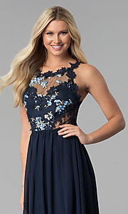 Image of embroidered-bodice long chiffon prom dress. Style: SOI-M17751 Detail Image 1