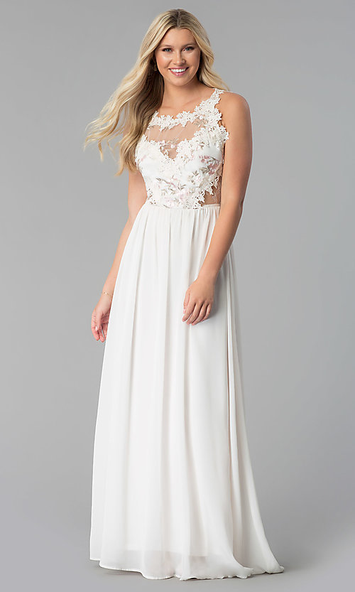 Image of embroidered-bodice long chiffon prom dress. Style: SOI-M17751 Detail Image 3