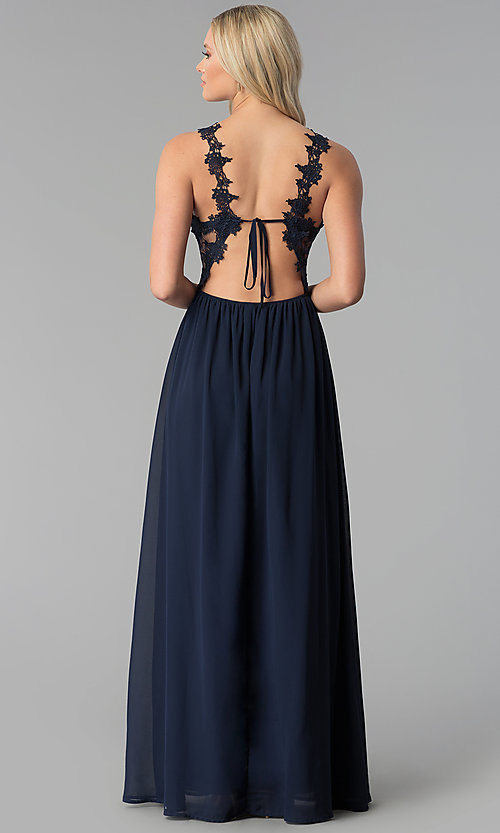 Image of embroidered-bodice long chiffon prom dress. Style: SOI-M17751 Back Image
