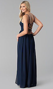 Image of long pleated v-neck prom dress with corset. Style: SOI-M17814 Back Image