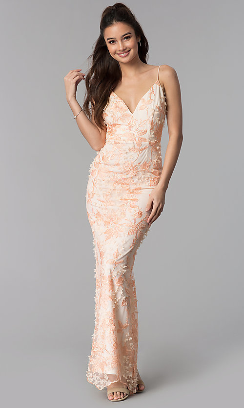 Image of sleeveless long v-neck embroidered-mesh prom dress. Style: SOI-M17880 Front Image