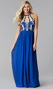 Royal Blue Sheer-Embroidered-Bodice Long Prom Dress