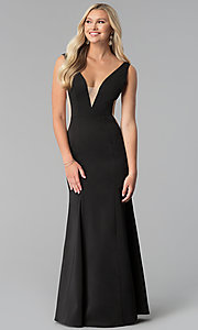 Long Black Prom Dress with Illusion-Inset V-Neck