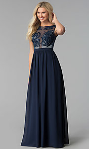 Long Sheer-Embroidered-Bodice Prom Dress