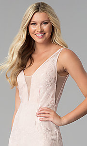 Image of embroidered-mesh v-neck prom dress in blush pink. Style: SOI-M17732 Detail Image 1