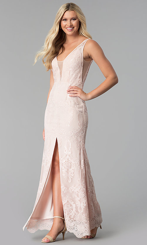 Image of embroidered-mesh v-neck prom dress in blush pink. Style: SOI-M17732 Front Image
