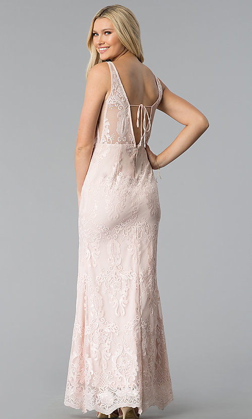 Image of embroidered-mesh v-neck prom dress in blush pink. Style: SOI-M17732 Back Image