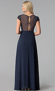 Image of navy blue long prom dress with lace and rhinestones.  Style: SOI-M17712 Back Image