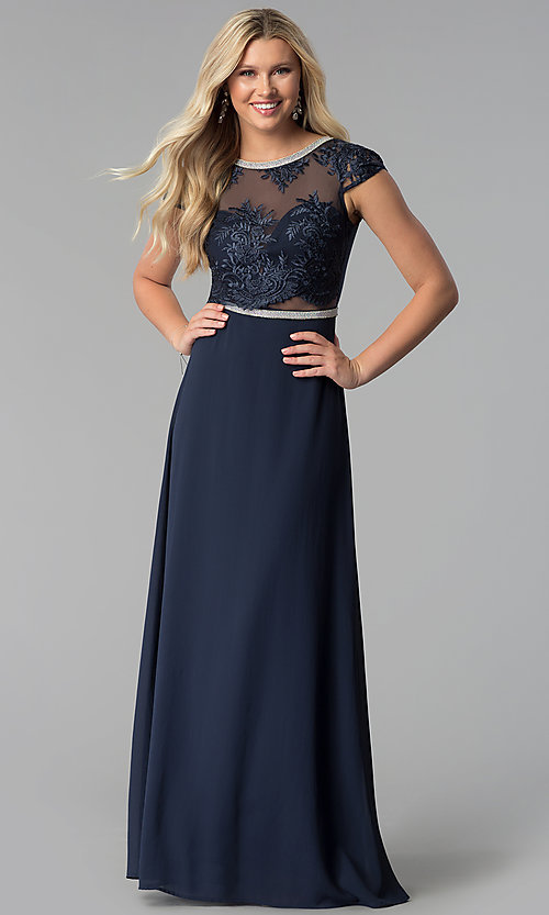 Image of navy blue long prom dress with lace and rhinestones.  Style: SOI-M17712 Front Image