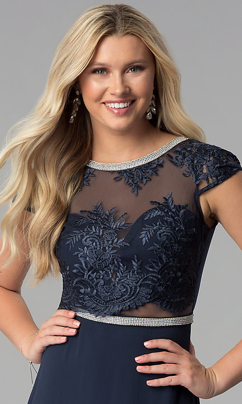 Image of navy blue long prom dress with lace and rhinestones.  Style: SOI-M17712 Detail Image 1