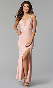 Long V-Neck Lace-Bodice Prom Dress in Blush