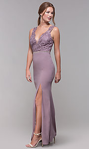 Image of long v-neck lace-bodice prom dress in blush. Style: SOI-M17941 Detail Image 3