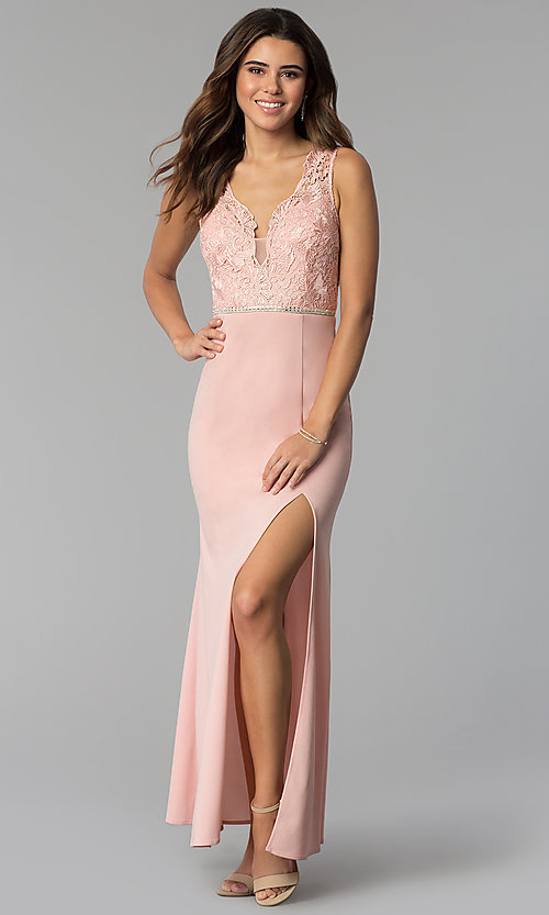 Image of long v-neck lace-bodice prom dress in blush. Style: SOI-M17941 Detail Image 1