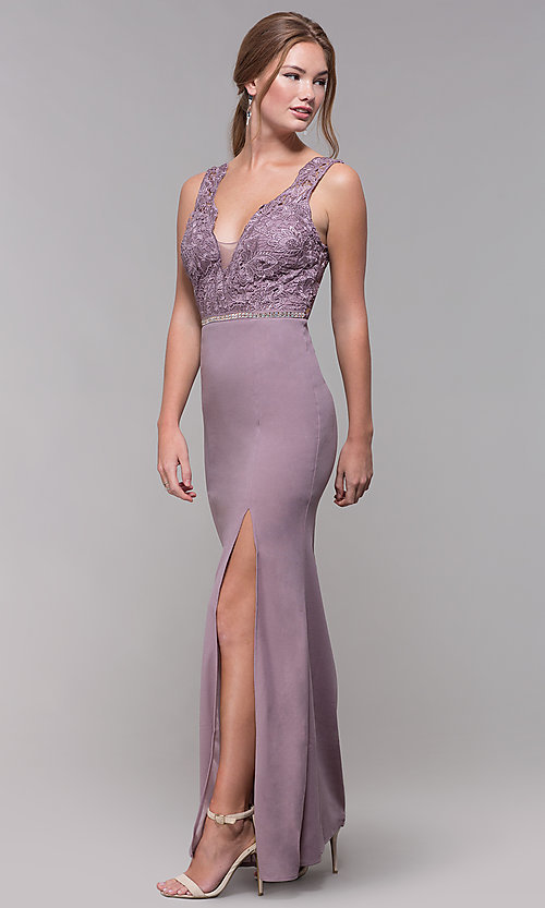 Image of long v-neck lace-bodice prom dress in blush. Style: SOI-M17941 Front Image
