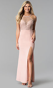 Image of high-neck embellished-sheer-bodice long prom dress. Style: SOI-M17960 Front Image