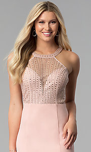 Image of high-neck embellished-sheer-bodice long prom dress. Style: SOI-M17960 Detail Image 1