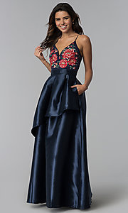 Image of long navy blue a-line prom dress with embroidery. Style: SOI-M17920 Front Image