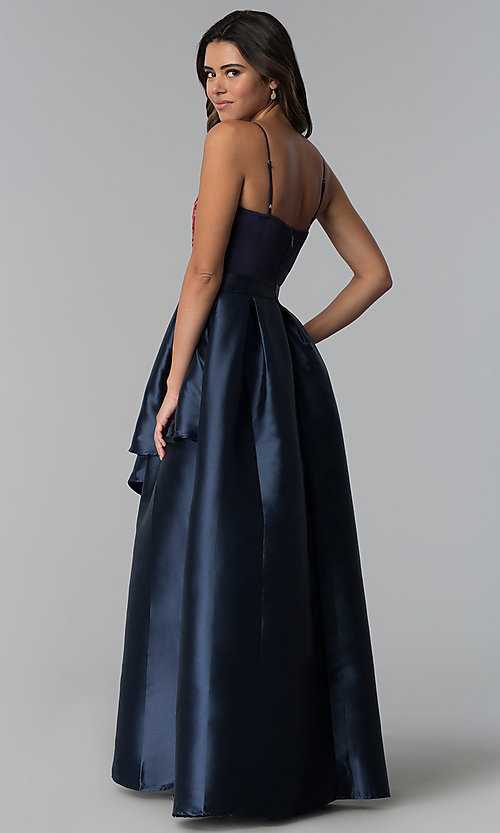 Image of long navy blue a-line prom dress with embroidery. Style: SOI-M17920 Back Image