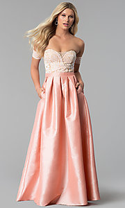 Image of long banded-sleeve off-the-shoulder prom dress. Style: SOI-M17951 Front Image