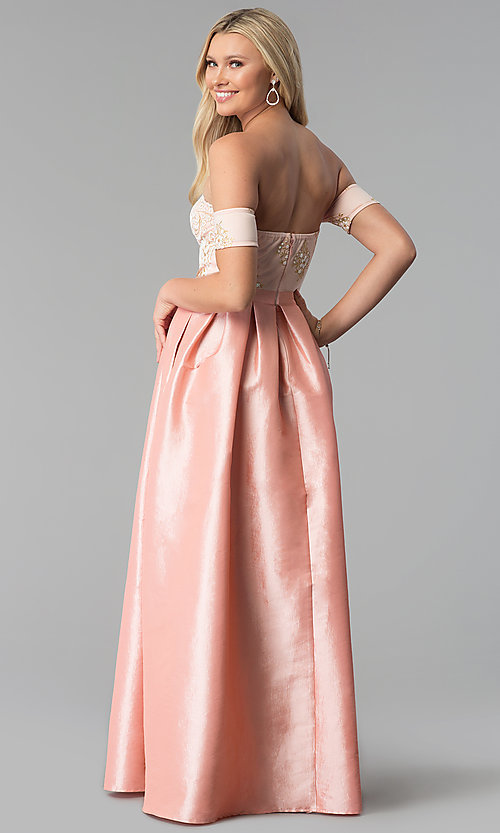 Image of long banded-sleeve off-the-shoulder prom dress. Style: SOI-M17951 Back Image