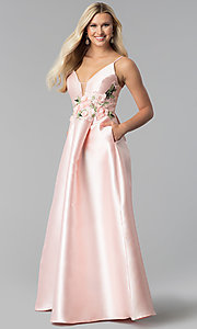 Image of satin blush pink prom dress with floral applique. Style: SOI-M17768 Front Image