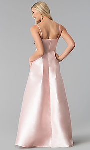 Image of satin blush pink prom dress with floral applique. Style: SOI-M17768 Back Image
