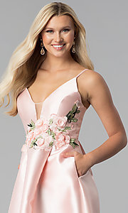 Image of satin blush pink prom dress with floral applique. Style: SOI-M17768 Detail Image 1