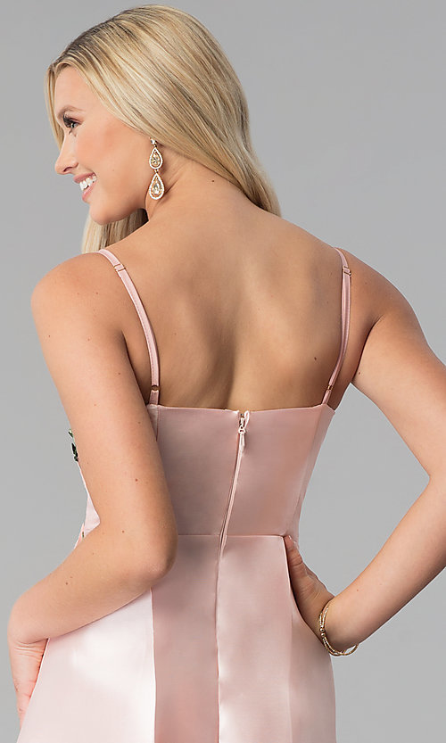 Image of satin blush pink prom dress with floral applique. Style: SOI-M17768 Detail Image 2