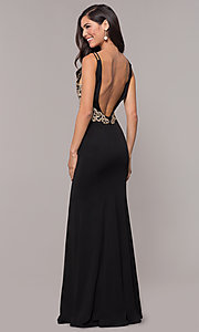 Image of v-neck long embellished-bodice prom dress. Style: SOI-M17432 Detail Image 3