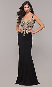 Image of v-neck long embellished-bodice prom dress. Style: SOI-M17432 Detail Image 2