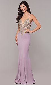 Image of v-neck long embellished-bodice prom dress. Style: SOI-M17432 Detail Image 5