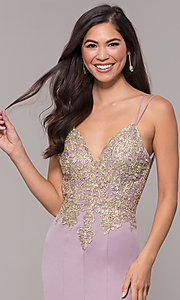 Image of v-neck long embellished-bodice prom dress. Style: SOI-M17432 Detail Image 7