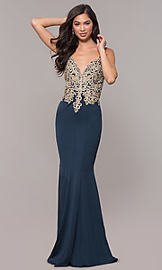 Image of v-neck long embellished-bodice prom dress. Style: SOI-M17432 Front Image