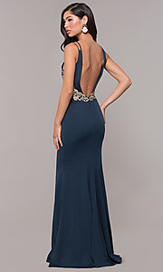 Image of v-neck long embellished-bodice prom dress. Style: SOI-M17432 Back Image