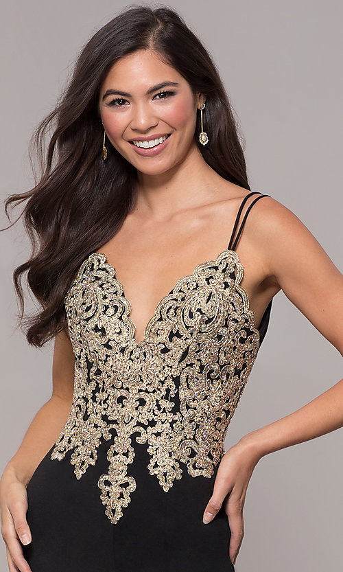 Image of v-neck long embellished-bodice prom dress. Style: SOI-M17432 Detail Image 4
