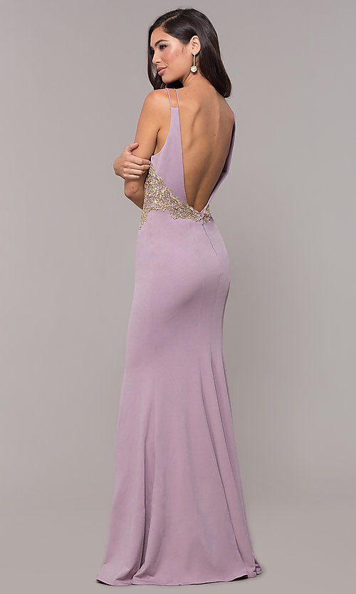 Image of v-neck long embellished-bodice prom dress. Style: SOI-M17432 Detail Image 6
