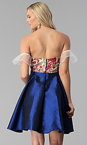 Image of short a-line embroidered off-shoulder prom dress. Style: SOI-S17961 Back Image