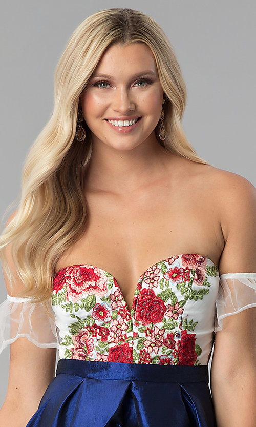 Image of short a-line embroidered off-shoulder prom dress. Style: SOI-S17961 Detail Image 1
