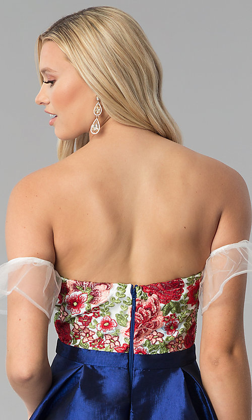 Image of short a-line embroidered off-shoulder prom dress. Style: SOI-S17961 Detail Image 2