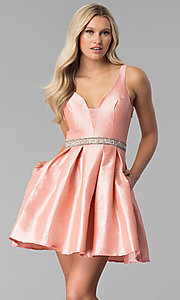 V-Neck Box-Pleated Short Prom Dress in Blush Pink