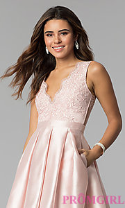 Image of v-neck short satin party dress with pockets. Style: SOI-S18214 Detail Image 1